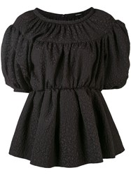 Goen.J Balloon Sleeve Peplum Blouse Black