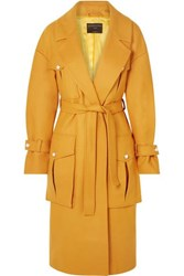 Mother Of Pearl Weston Faux Embellished Wool Blend Coat Mustard