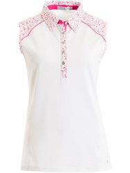 Green Lamb Fallen Sleeveless Print Trim Polo White