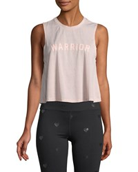 Spiritual Gangster Warrior Cropped Graphic Muscle Tank Light Pink