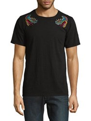 Cult Of Individuality Embroidered Crewneck Cotton Tee Black