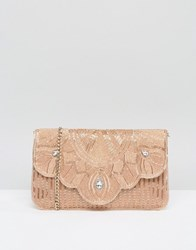 Dune Ekelly Rose Gold Embellished Envelope Clutch Bag Gold