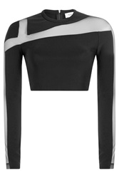 Thierry Mugler Mugler Cropped Top With Sheer Insert Black