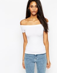 Asos The Off Shoulder Top With Short Sleeves White