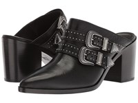 Frye Flynn Belted Mule Black Tumbled Buffalo Clog Mule Shoes