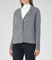 Reiss Thea Knitted Jacket In Moss