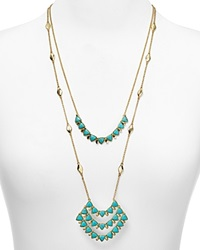 Lauren Ralph Lauren 2 Row Long Chain Pendant Necklace 24 Bloomingdale's Exclusive Gold Turquoise