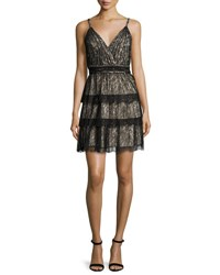 Alice Olivia Olive Tiered Lace Mini Dress Black Brown Black Brown