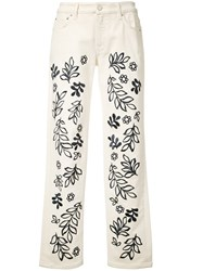 Victoria Beckham Floral Skinny Jeans White