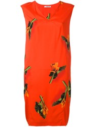 Cacharel Leaf Print Dress Red
