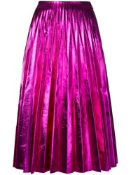 Gucci Pleated Metallic Skirt Women Silk Leather 36 Pink Purple