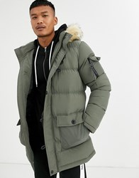 Sik Silk Siksilk Puffer Parka Jacket With Faux Fur Hood In Khaki Green