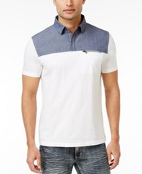 Inc International Concepts Men's Colorblocked Cotton Polo Only At Macy's White Pure