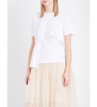 Simone Rocha Ruffled Cotton Jersey T Shirt White