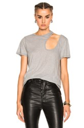 Unravel Cut Out Basic Tee In Gray