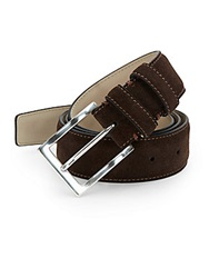Hickey Freeman Suede Pin Buckle Belt Chocolate