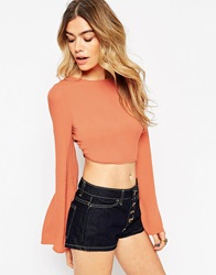 Asos Kimono Sleeve Crop Top With Open Back And Tie Rust
