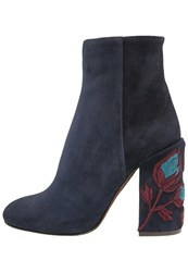 L'autre Chose High Heeled Ankle Boots Navy Dark Blue