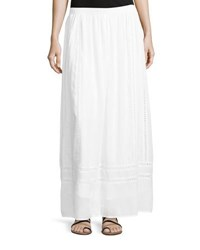 Neiman Marcus Embroidered Inset Woven Maxi Skirt White