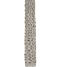 Richard James Knitted Square End Silk Tie Stone