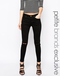 New Look Petite Busted Knee Supersoft Superskinny Jeans Black