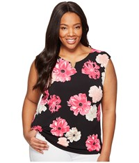 Calvin Klein Plus Size Printed Extended Shoulder With Hardware Black Rose Women's Sleeveless