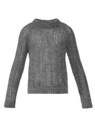 Prada Open Knit Mohair Sweater Grey