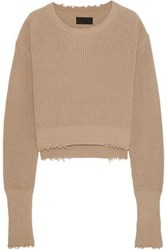 Rta August Cropped Distressed Cotton Sweater Sand