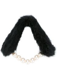 Twin Set Faux Fur And Pearl Scarf Black