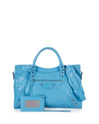 Balenciaga Classic City Lambskin Tote Bag Royal Blue