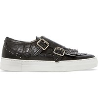 Dune Ervyn Croc Embossed Leather Trainers Black Reptile