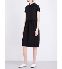 Comme Comme Des Garcons Peter Pan Collar Satin Dress Black