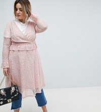 Lovedrobe Allover Lace Wrap Front Midi Dress Pink