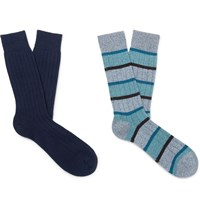 Pantherella Two Pack Cashmere Blend Socks Blue
