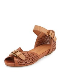 Gentle Souls Bessie Laser Cut Sandal Luggage