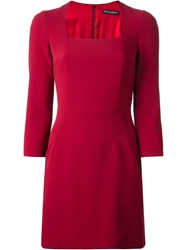 Dolce And Gabbana Fitted Mini Dress Red