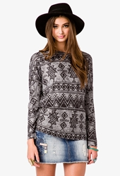 Forever 21 Tribal Print Sweater Black Charcoal