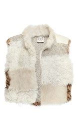 Sea Patchwork Fur Vest Tan