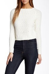Amanda Uprichard Crew Neck Cropped Sweater Beige