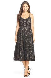 Betsy Adam Lace Tea Length Dress Black Nude