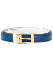 Dolce And Gabbana Square Buckle Belt Women Calf Leather 85 Blue