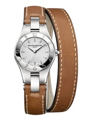 Baume And Mercier Linea Stainless Steel And Leather Double Wrap Strap Watch Silver Cognac