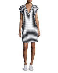 Atm Anthony Thomas Melillo Striped Pima Jersey Dress Navy White Multi Pattern