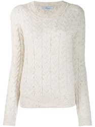 Blumarine Cable Knit Jumper White