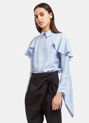 J.W.Anderson Striped Cascade Sleeve Silk Blouse Blue