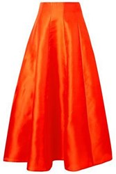 Merchant Archive Silk Satin Midi Skirt Papaya