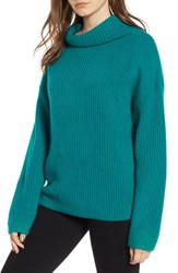 Trouve Rib Funnel Neck Sweater Teal Sail