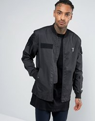 Religion Bomber Jacket With Military Patch Detailing Black
