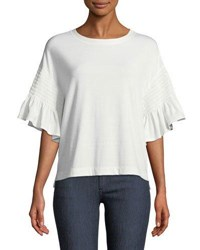 Laundry By Shelli Segal Smocked Sleeve Tee White
