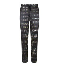 Meng Printed Silk Lounge Trousers Black